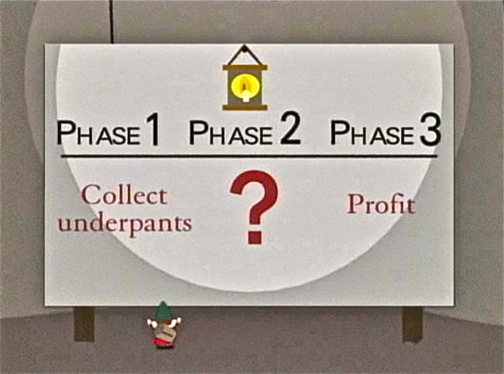 Underpants gnomes business plan: phase 1: collect underpants, phase 2:???, phase 3: profit