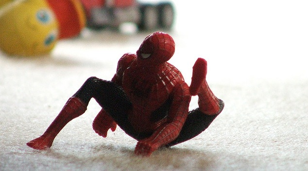 Spider Man Action Figure doing yoga