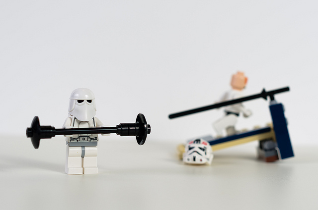 Exercising lego men