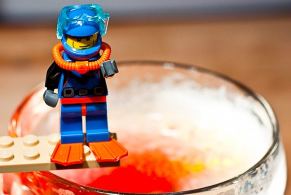 scubadiver lego in beer