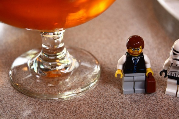 businessman lego drinking