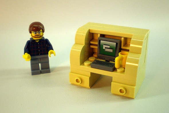 lego man and desk