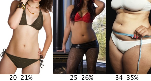 Female Body Fat Percentages 20-35%