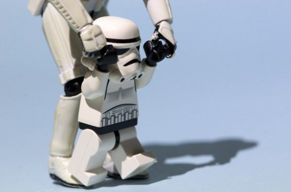 Storm Trooper starts exercising small by taking small steps
