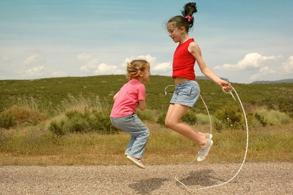 Two Girls Playing Jump Rope, Exercising