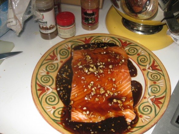 Honey Soy Sauce Salmon Face up