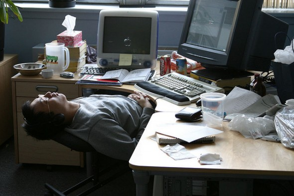 asleep at desk