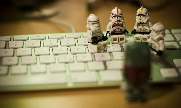 lego stormtroopers on keyboard